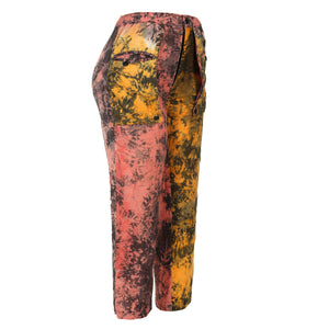 HAND DYED COTTON CROP PANT WITH EXTENDED POCKETS DETAIL