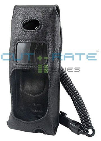 Polycom BPX100 Vinyl Holster (Open Face Design) with Metal Hinge Clip and Coil Lanyard
