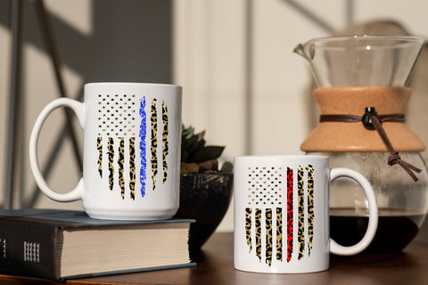 Leopard Thin Blue And Thin Red Line: Coffee Mug