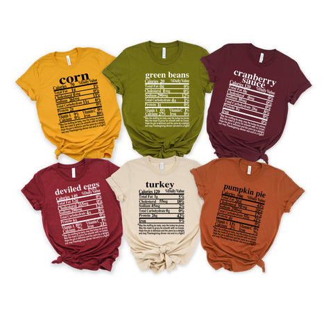 Thanksgiving Food Family Group Shirts: Crew