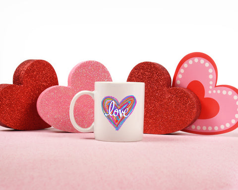 Tie Dye Love Heart: Coffee Mug