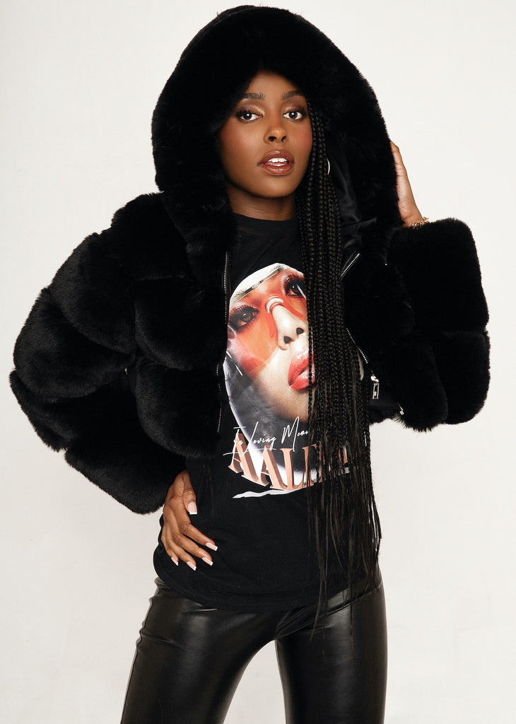 Sofia Black Hooded Faux Fur Jacket