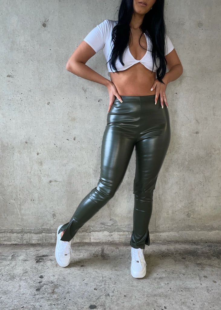 Khaki Split Hem Faux Leather Leggings