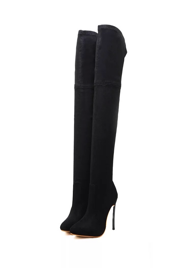 Amber Black Suede Thigh High Boots