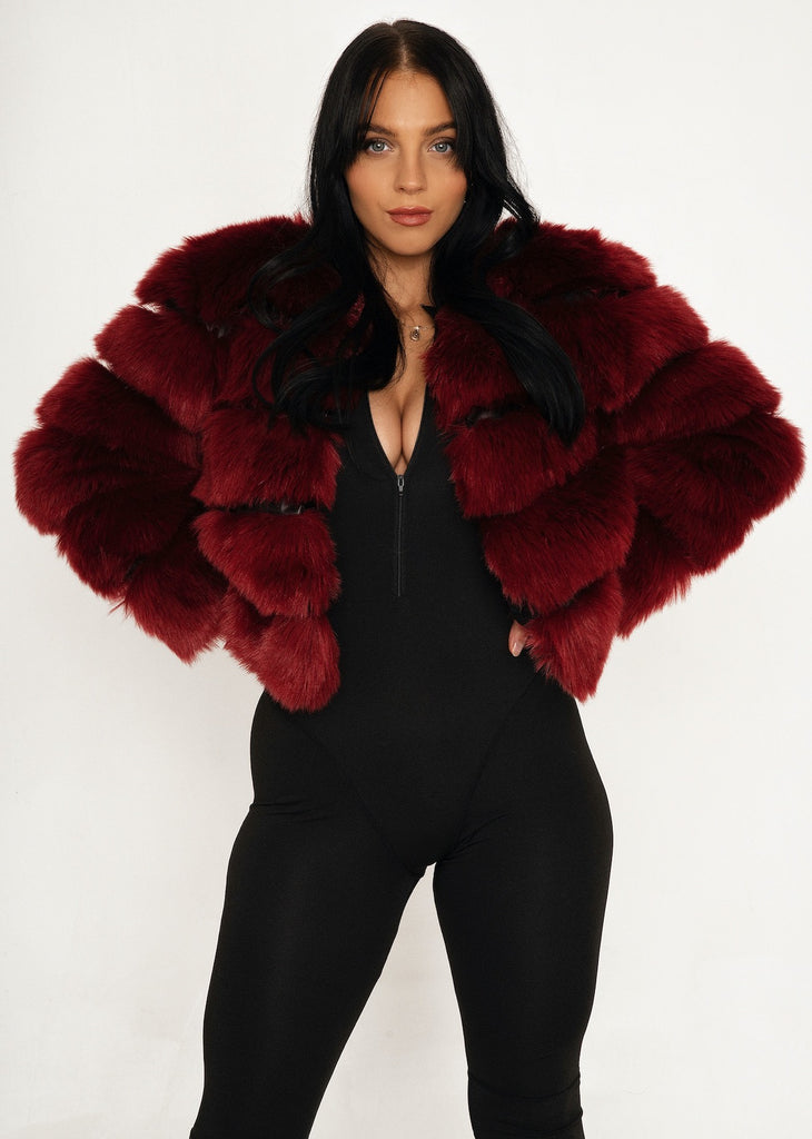 Paris Wine Red Fur Jacket