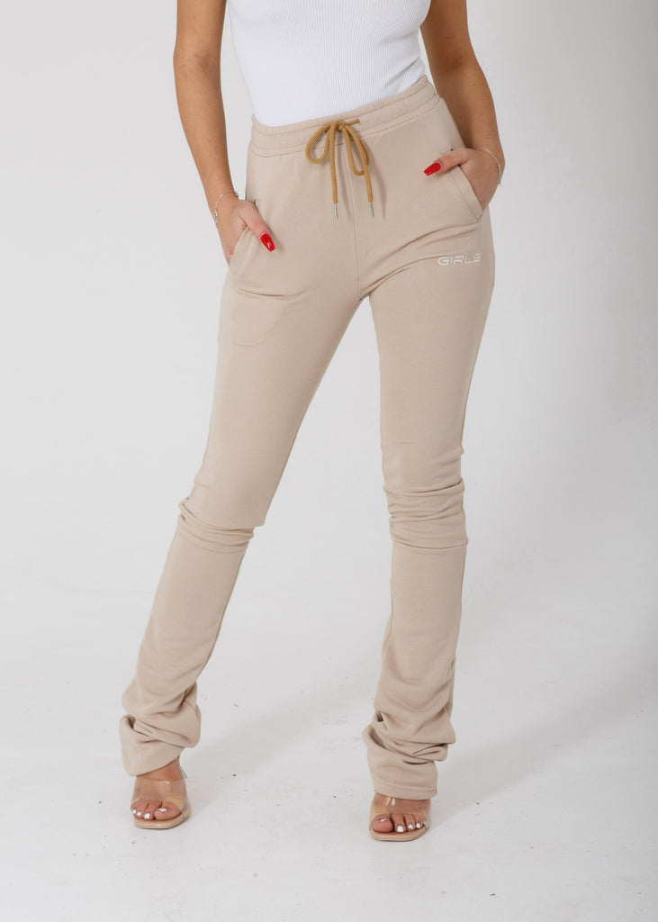 GIRLS Beige Stacked Joggers