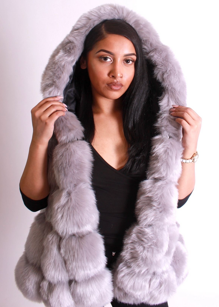 Milan Hooded Grey Fur Vest