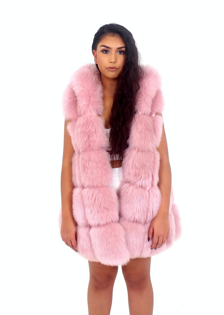 Milan Hooded Lavender Fur Vest