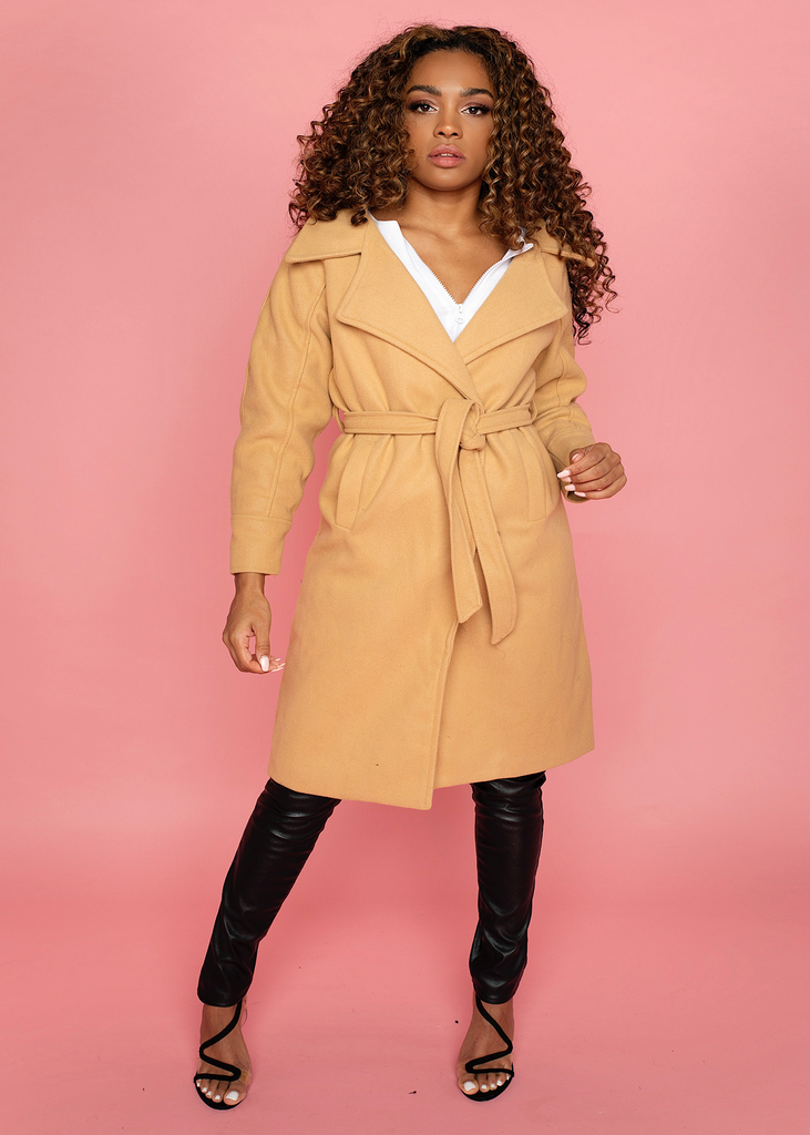 Vienna Nude Belted Coat