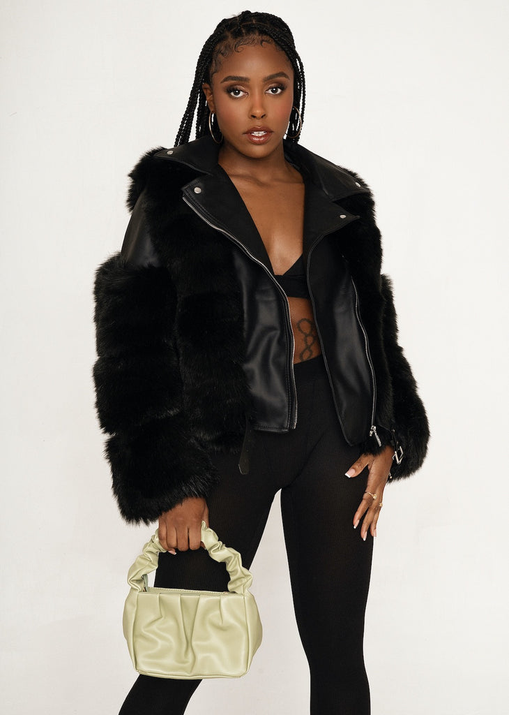 FLORENCE Black Faux Fur Vegan Leather Buckle Jacket