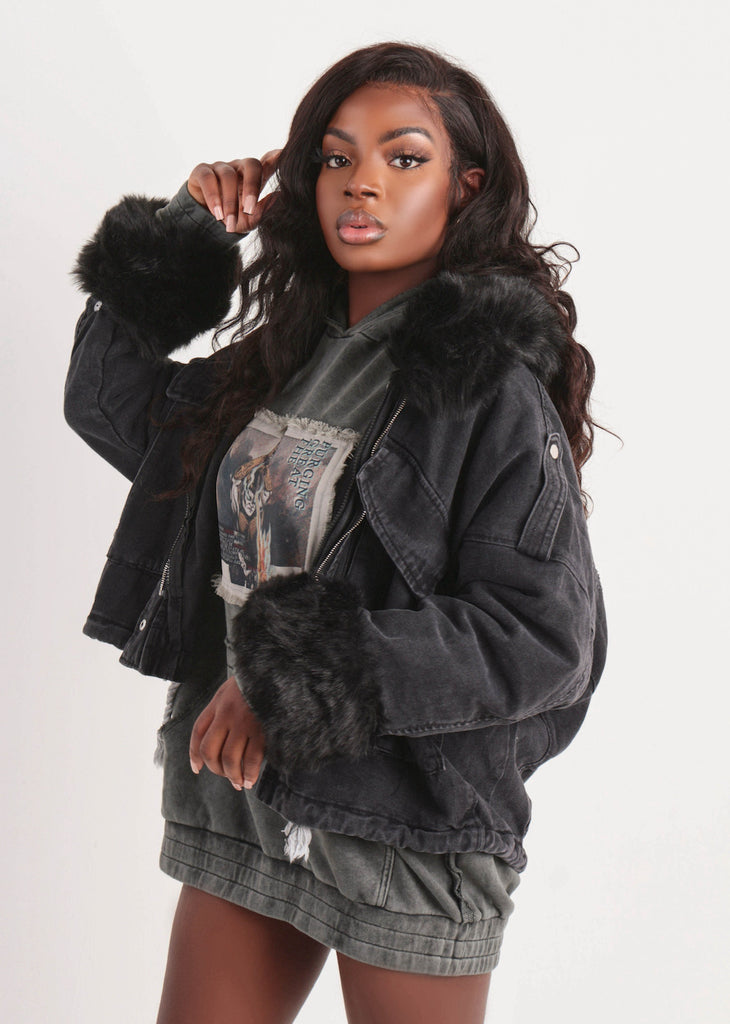Black Faux Fur Oversized Denim Jacket