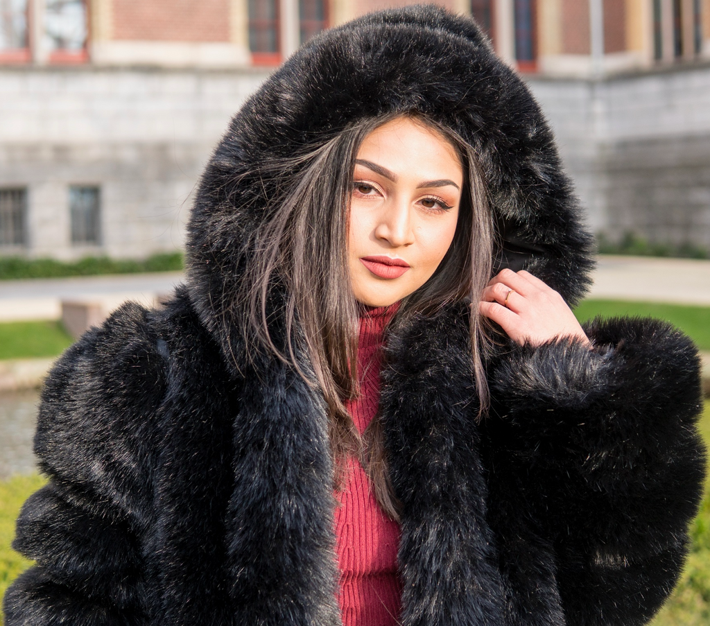 London Black Hooded Fur Coat