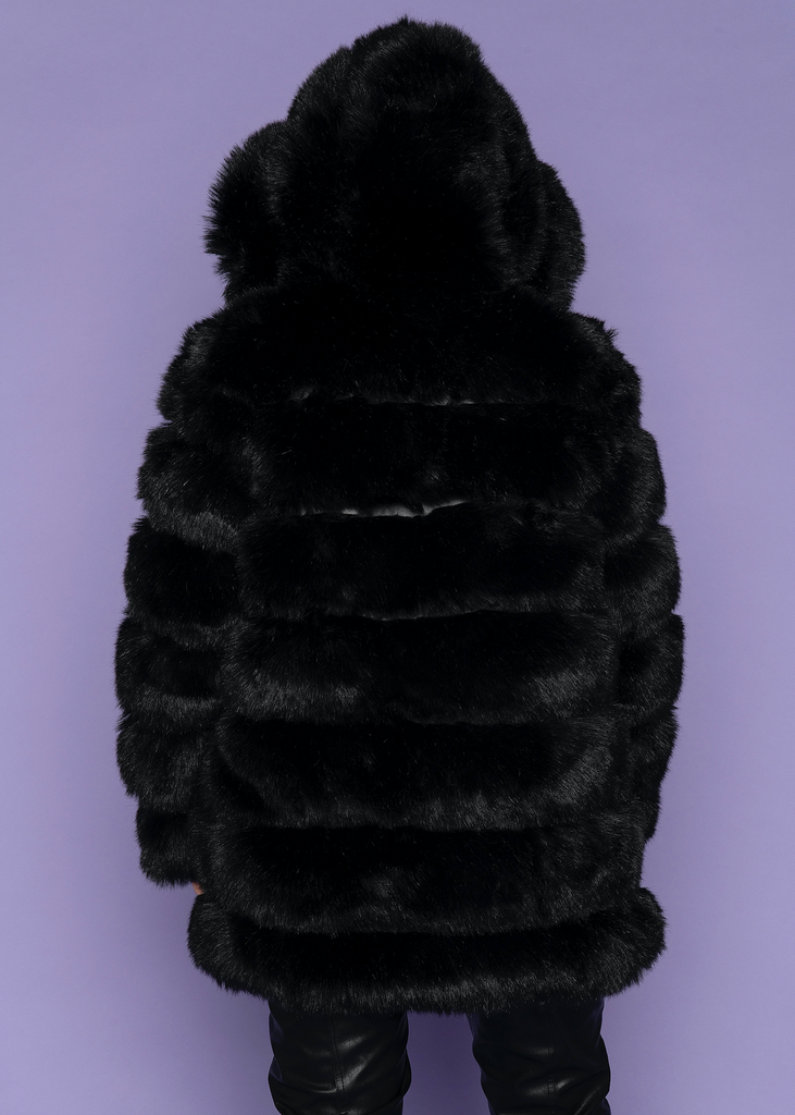 Black Moscow Hooded Fur Coat
