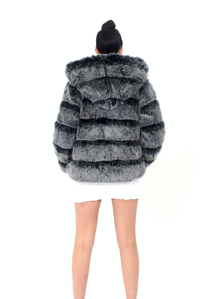 Paris Hooded Silver Fur Jacket