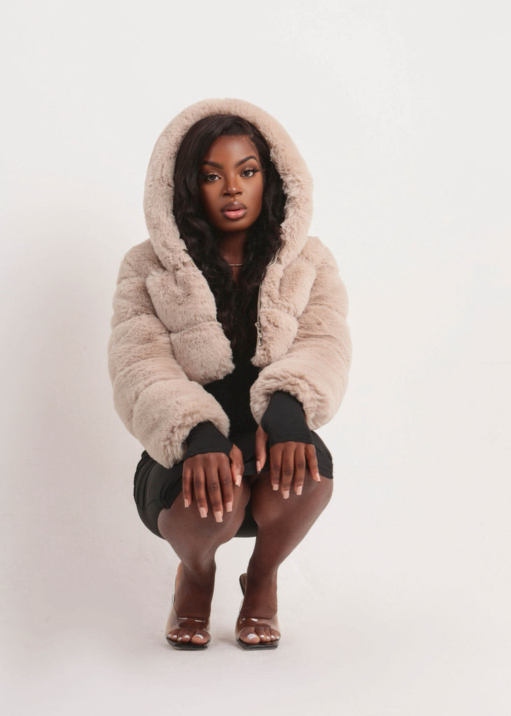 Sofia Nude Faux Fur Hooded Jacket
