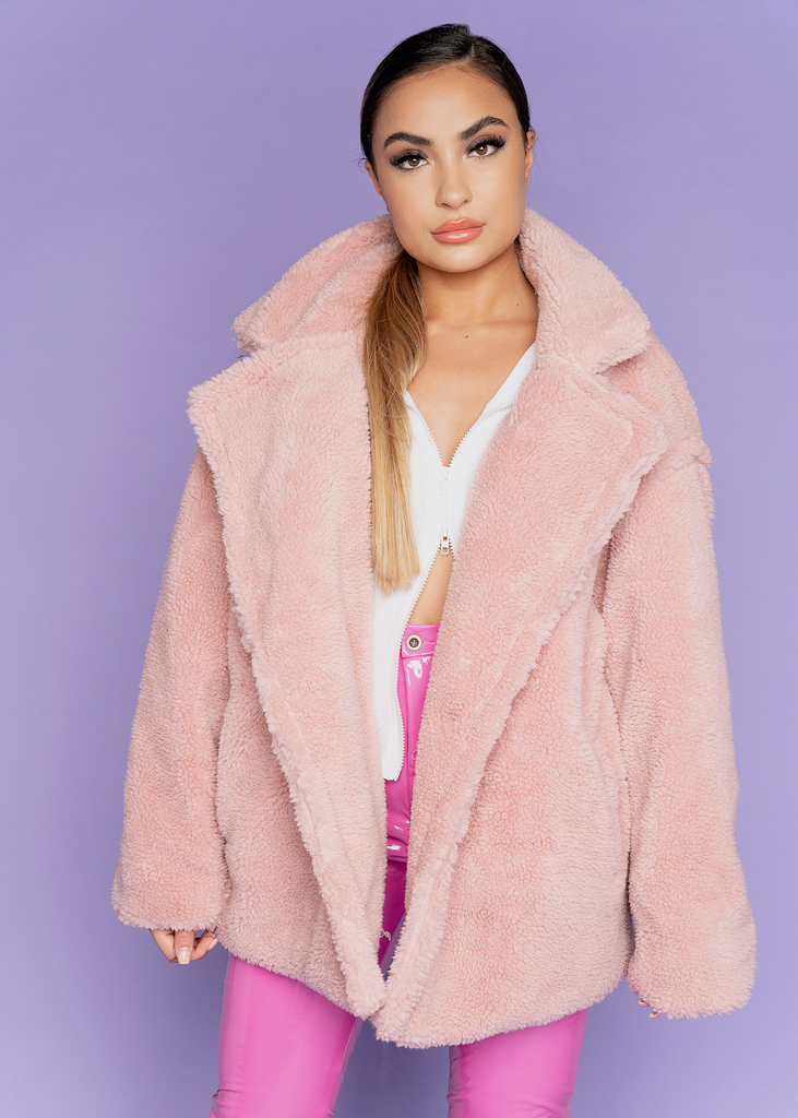 Oslo Light Pink Teddy Jacket