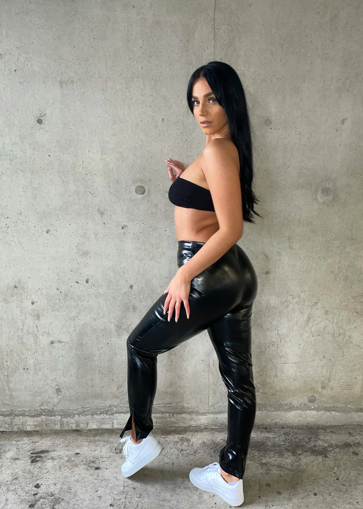 Black Split Hem Faux Leather Leggings