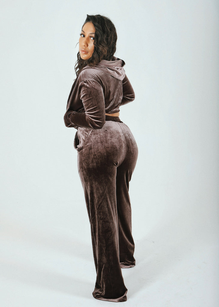 Chocolate 3 Piece Velour Tracksuit