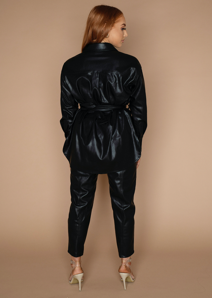 Vegan Leather Trouser Set