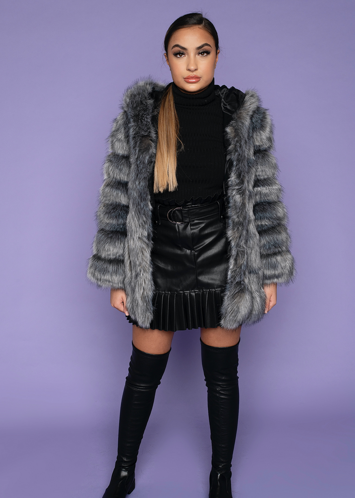 London Grey & Black Hooded Fur Coat