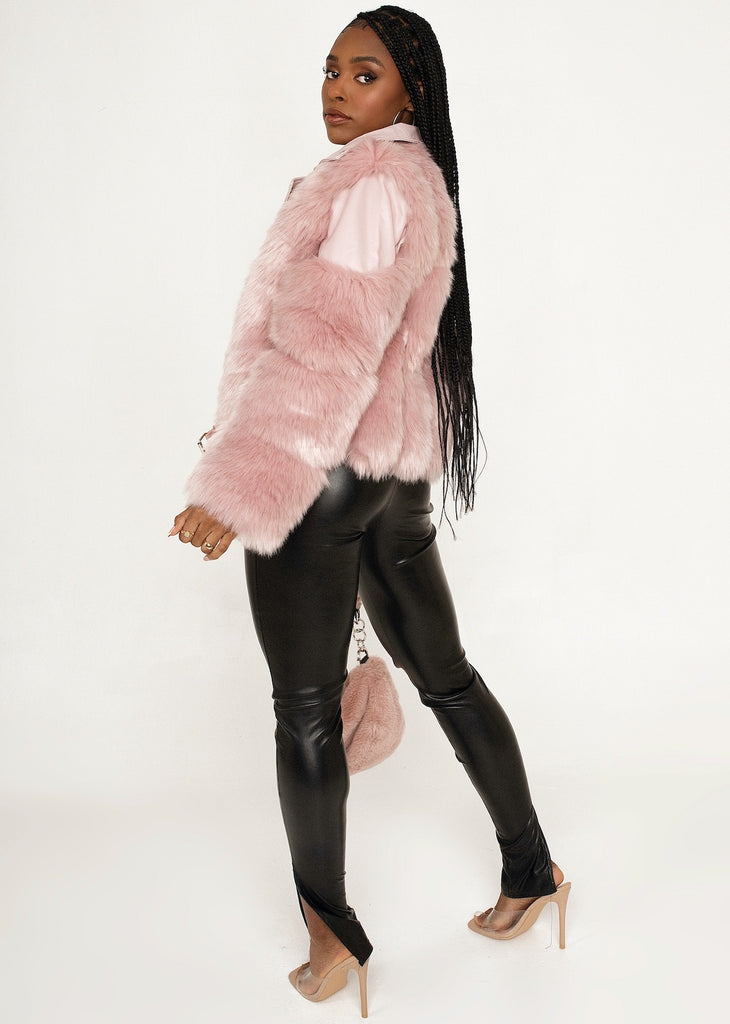 FLORENCE Pink Faux Fur Vegan Leather Buckle Jacket