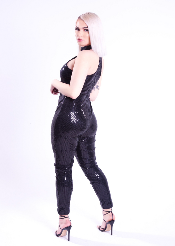 Justyn Black Sequin Jumpsuit