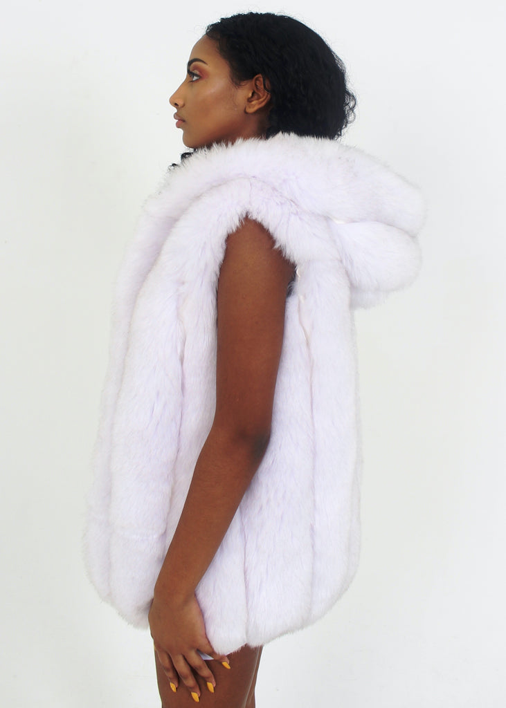 London White & Grey Hooded Fur Vest