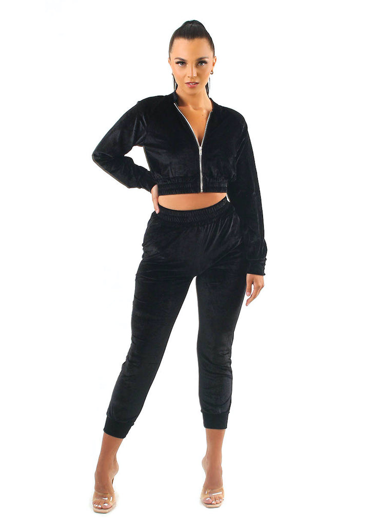 Tiffany Black Velvet Tracksuit