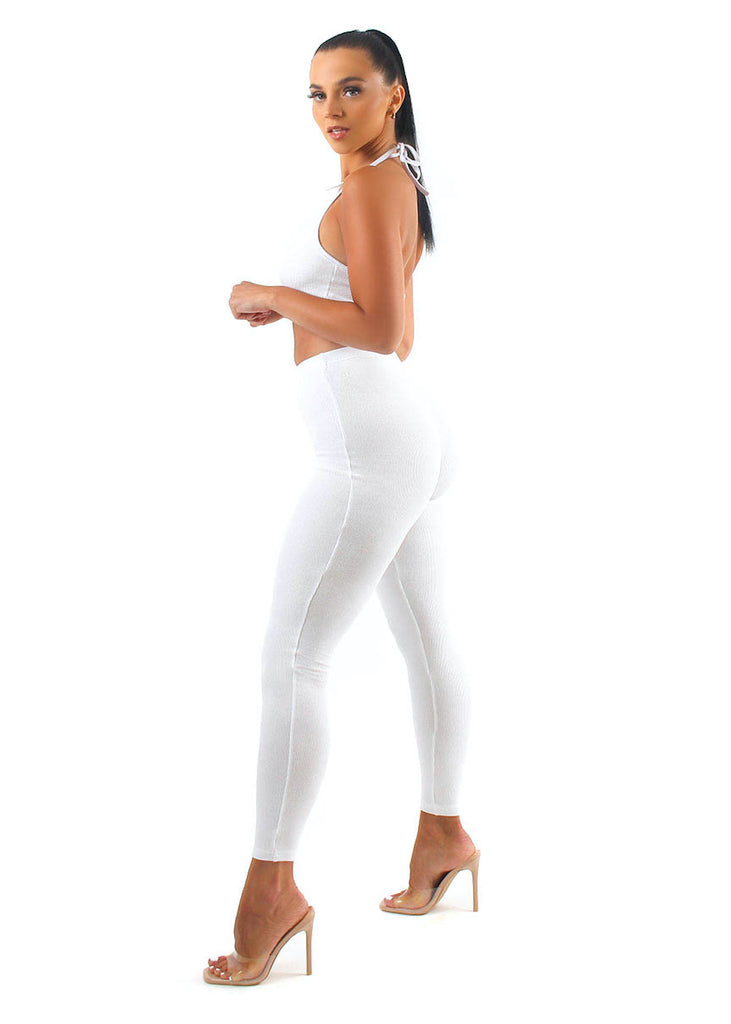 CONCRETE White Ribbed Pants Set