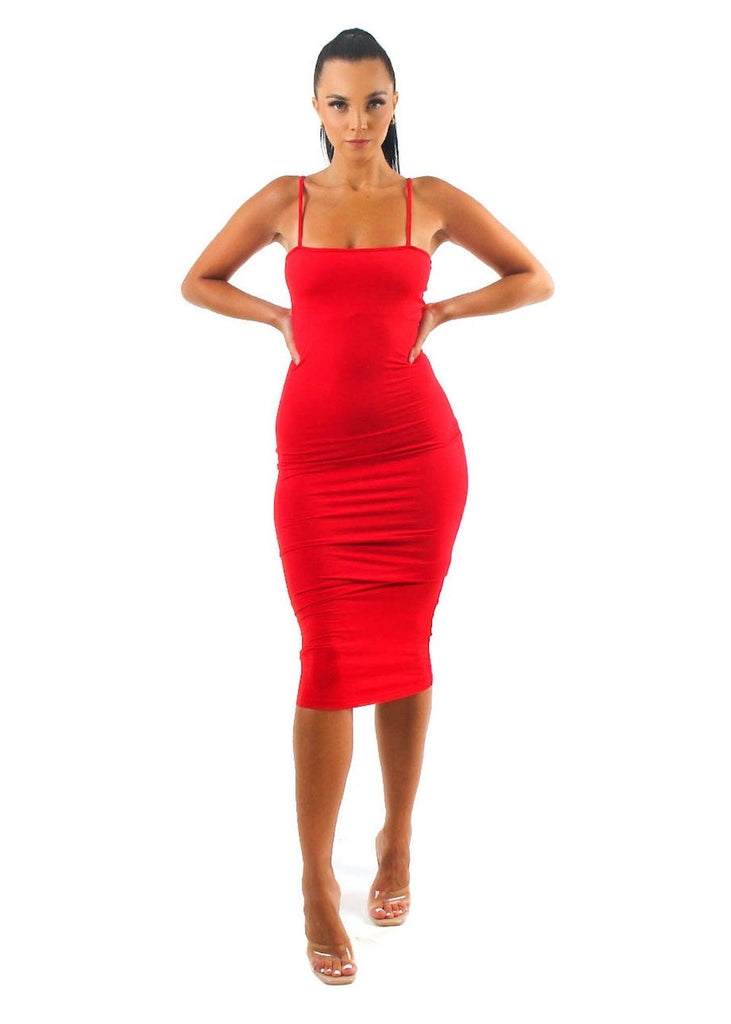 Demi Red Double-Layered Bodycon Midi Dress