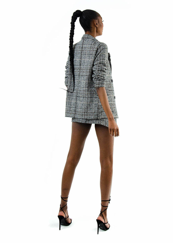 Grey Check Two Piece Skirt Suit