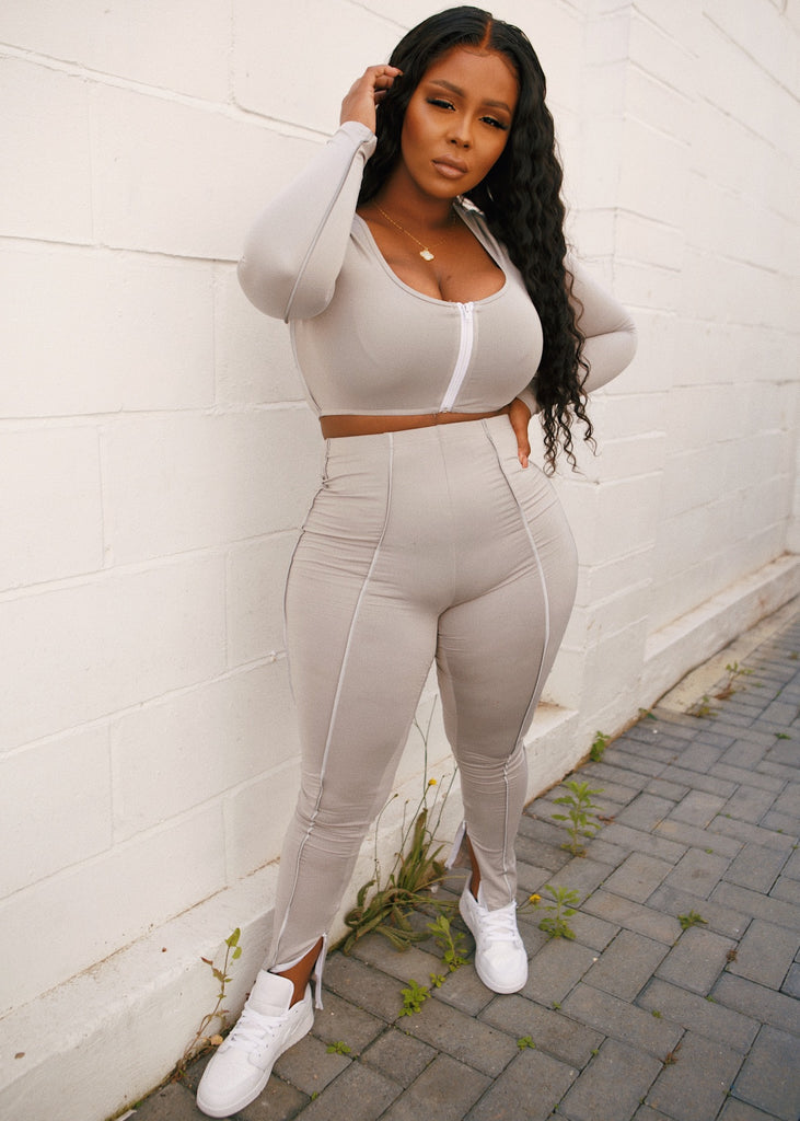 Grey CONCRETE Reflective Pants Set