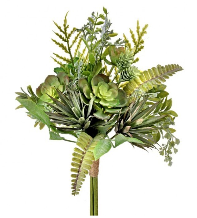 SUCCULENT & FERN BOUQUET 16""