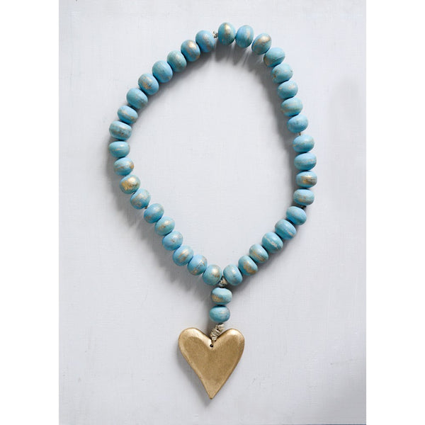 Wood Beads with Heart