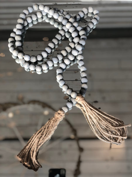 Wood Beads With Jute Tassels