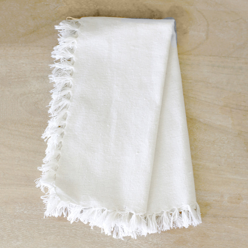 Fringe Napkin in White