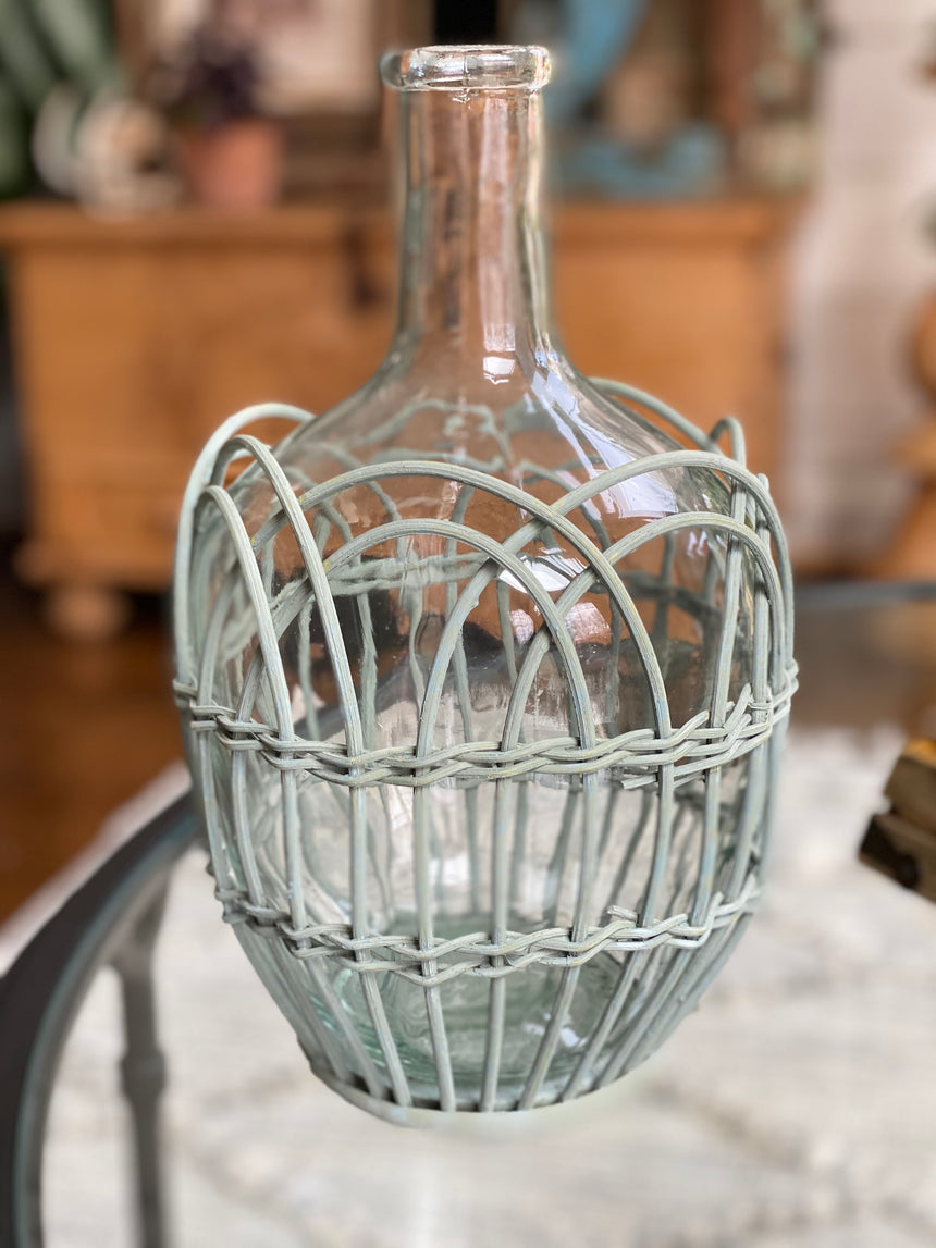 Glass bottle vase with woven sleeve in Mint