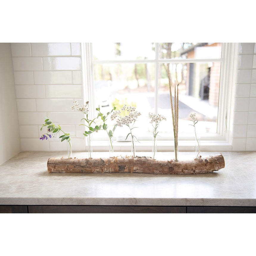 Birch Log With 7 Glass Tube Vases