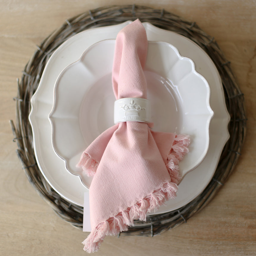Fringe Napkin in Light Pink