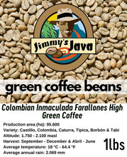Load image into Gallery viewer, Colombian Inmaculada Farallones High Green Coffee