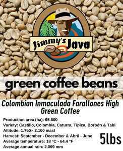 Colombian Inmaculada Farallones High Green Coffee