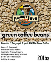 Load image into Gallery viewer, peru el guayaquil organic fto rfa green coffee
