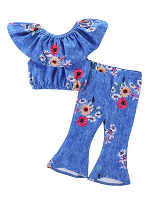 2-Piece Fashion Baby Little Girl Flower Clothes Outfit Off Shoulder Top Matching Bell-bottoms
