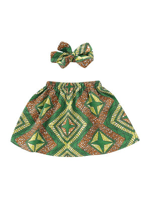 2-Piece Vintage Style Baby Toddler Girl Skirt Matching Headband