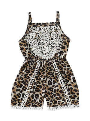 Fashion Lace Trim Leopard Print Jumpsuit