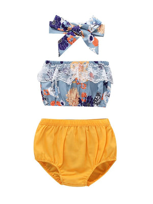 3-Piece Summer Baby Outfit Lace Trim Flower Off Shoulder Crop Top+Yellow Shorts+Headband