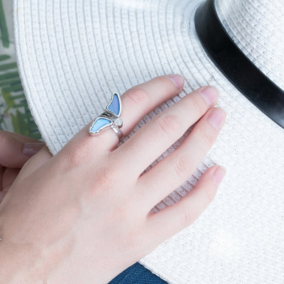 1-Real Butterfly Wings-A-2D-3F-Silver-butterfly-ring-with-blue-topaz-birthstone-Iridescent-Blue-half-Morpho-Didius
