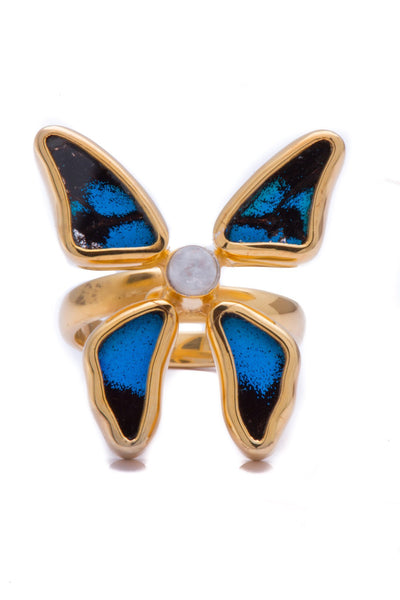 1-Real Butterfly Wings-A-4D-3F-Gold-butterfly-ring-with-blue-topaz-birthstone-Royal-Blue-Papilio-Ulysses