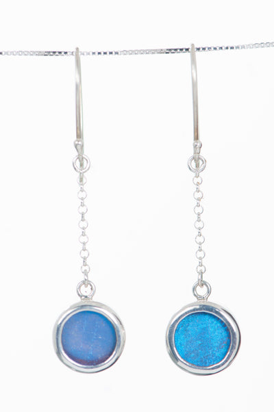 1-Real Butterfly Wings-A-SB-C1-Silver-butterfly-earrings-Iridescent-Blue-Circle-Morpho-Didius