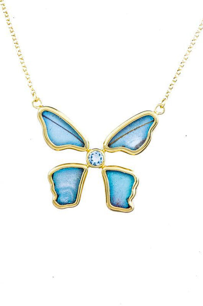 1-Real Butterfly Wings-A-4B-5F-Gold-butterfly-necklace-with-blue-topaz-birthstone-Iridescent-Blue-Morpho-Didius